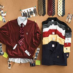 Brooks Brothers' collection of polos, dress shirts, sweaters, and ties embroidered with school logos