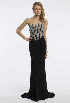 Camille La Vie Beaded Strapless Corset Prom Dress with Ruched Waist
