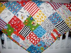 Dr. Seuss Quilt for C. Made with the Celebrate Seuss! Line of fabric by Robert Kaufman