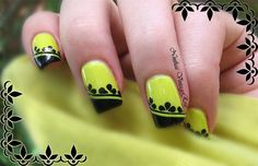 Crazy yellow #frenchmani See more #nailart - bellashoot.com (mobile-friendly), bellashoot iPhone & iPad app