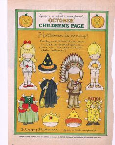 (⑅ ॣ•͈ᴗ•͈ ॣ)♡                                                             ✄Joan Walsh Anglund Halloween Paper Doll 1979