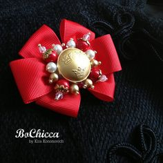 Woman red heraldic brooch Royal Twins Red bead by BoChicca on Etsy, $95.00