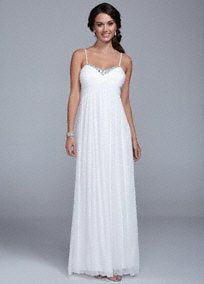Breathtakingly beautiful, you will look amazing on your special day in this gorgeous wedding dress!  Spaghetti strap bodice with dazzling beaded sweetheart neckline is sure to catch the light.  Long soft mesh fabric is comfortable and flows freely.  Fully lined. Back zip. Imported polyester. Dry clean.  To protect your dress, try our Non Woven Garment Bag.