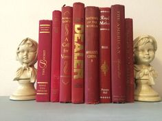 Vintage red decorative book lot by HellwarthVintageCo on Etsy