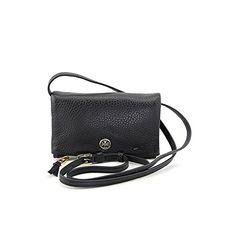 Tory Burch Robinson Mini Fold-Over Womens Black Purse Leather Messenger