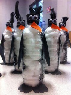 water bottle snowmen or penguins... My Xoxo will LOVE this!!!!