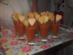 My Queen of Heart's tomato soup horderves. (home made croutons are so easy!) #aliceinwonderland #madhatter #cocktailparty #horderves #homemade