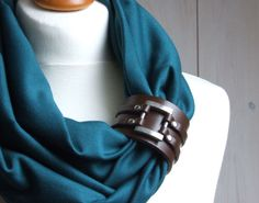 TEAL Circle Scarf Shawl Loop with leather cuff bracelet  Fall fashion accessories. $31.90, via Etsy.