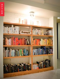 Before & After: Book Lovers Make the Most of a Boring Basement Wall