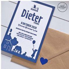 Op dit letterpress geboortekaartje illustreerde suusontwerpt de grote zus van Dieter en hun mooie huis en hun huisdieren mochten ook niet ontbreken. #suusontwerpt #geboortekaartje #geboorte #zwanger #letterpress #grotezus #paard #hond #huisdieren Letterpress, Letterpress Printing, Letterpresses