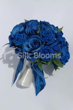 Artificial Royal Blue Rose Wedding Bridal Bouquet Flowers with White Satin Roses