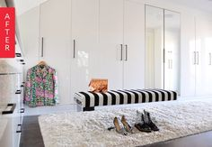 IKEA Pax wardrobes can be a godsend for creating closet space out of nothing and here is an exquisite example of how they can not only provide a massive amount of storage but appear like they were built just for your space. Check out this dreamy transformation: