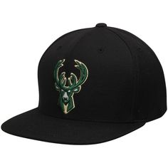 check out 17d21 6aadb Men s Milwaukee Bucks Mitchell  amp  Ness Black Current Logo Wool Solid Snapback  Adjustable Hat,