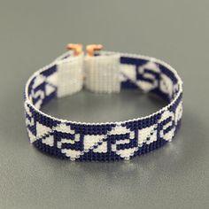Incan Indian Sapphires Bead Loom Cuff Bracelet Native American