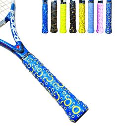 Alien Pros Tacky Overgrips 3-pack, Creative Blue Bublbles Design, Good for Tennis, Badminton, Squash, Hockey, Softball, Fishing Rods, Bike Bars, Foosball Bars and Other Handles