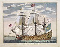 MORTIER, P.,  Vaisseau du premier rang portant pavillon d'amiral., antique map, old maps