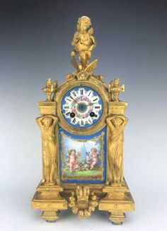 Magnificent French Monumental Mercury Gilt Bronze Figural Clock Set by L. Measures ==> Clock: x x . Retro Clock, Vintage Clocks, French Clock, Mantel Clocks, Louis Xvi, Architectural Elements, Mercury, Ph, Auction