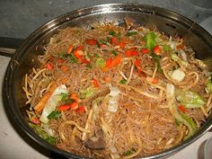 """Pancit or Pansit is the term for noodles in Filipino cuisine. The term pancit is derived from Hokkien """"pian i sit"""" which means """"something conveniently cooked fast"""". This one is Pancit Bihon with fine noodles."""