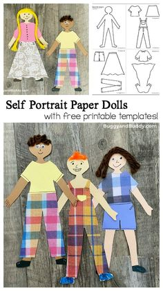 Self Portrait Paper Doll Craft with Printable Templates - Buggy and Buddy Paper Doll Template, Paper Dolls Printable, Printable Templates, Free Printables, Creative Activities For Kids, Craft Projects For Kids, Preschool Activities, Kindergarten Fun, Creative Crafts