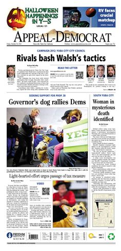 Appeal-Democrat front page for Friday, October 26, 2012.