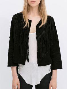 Black With Tassel Crop Coat 28.50