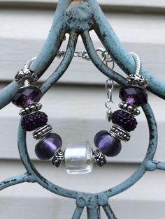 IMG_3657 2 European Fashion, Fashion Bracelets, Glass Beads, Chain, Purple, Store, Silver, Gifts, Jewelry