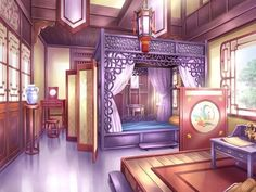 The room in Petal Dance court where Raven lived for two years Scenery Background, Landscape Background, Animation Background, Chinese Buildings, Chinese Architecture, Interior Architecture, Jellal, Fairytail, Chinese Landscape