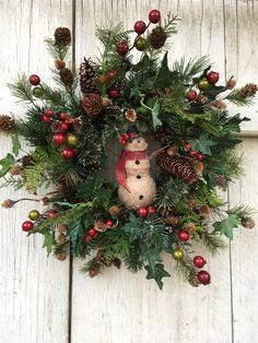 Snowman Wreath-Winter Wreath-Burlap by LauraMeyerDesigns on Etsy