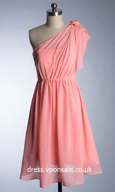 Chiffon One-shoulder Short Bridesmaid Dress VPBNA119