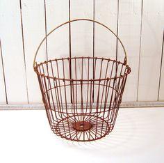 Rustic Apple Basket, Egg Basket, Gathering Basket, by FrogLevelFarm