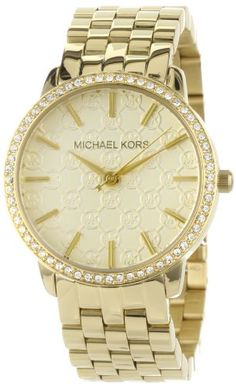 Michael Kors Ladies Gold 5- Link Round Argyle MK with Glitz