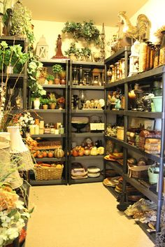 Accessory storage.. Shopping in your own home for your seasonal decorations ~ if only I had the space to do this!