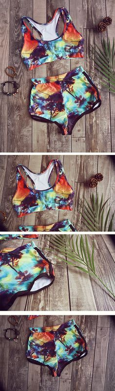 Enjoy a life full of pattern and color that is all about living it up to the fullest.  if you are looking for a truly unique bikini then this may be just the one. More sweet swimsuits at Shein.com