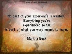 No part of your experience is wasted. Martha Beck