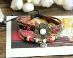 Knitted Multi-Layered Leather Bracelet