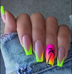 NAIL 45 cute and stylish summer nails for 2019 # summer # elegant # cute # nails # for Wedding Favou Bright Summer Acrylic Nails, Best Acrylic Nails, Summer Nails Neon, Summer Vacation Nails, Acrylic Nails For Holiday, Spring Nails, Nails Summer Colors, Acrylic Nail Designs For Summer, Summer Nail Art