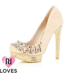 River Island LIGHT PINK STUD AND SPIKE SHOES