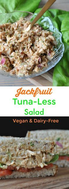 """The texture of jackfruit is so much like tuna. This vegan """"tuna"""" salad is healthy, dairy-free, meat-free, and delicious!"""