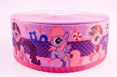 "3"" Wide My Little Pony Faces and Candy Printed on Grosgrain Cheer Bow Ribbon"