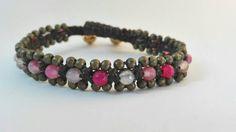 Bracciale intrecciato con perle nei toni del rosa e bronzo di Amacreazioni su Etsy