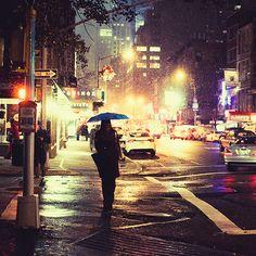 Girl in the rain in the city