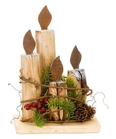 Spruce up your holiday décor with the natural warmth and hearty texture of this whimsical wood accent piece.