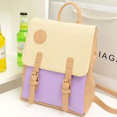 2016 spring new Korean female bag backpack retro hit color spell color pink leather casual shoulder bag-in Backpacks from Luggage & Bags on Aliexpress.com | Alibaba Group