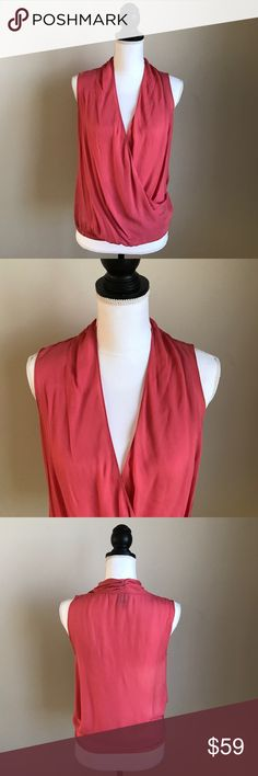 Haute Hippie top coral size small deep v 100% silk 100% silk top from high end designer Haute Hippie. Size small deep v neckline, coral. Haute Hippie Tops Tank Tops