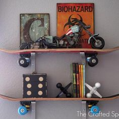 Skateboard Shelves {Kids Rooms}