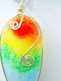 Glass Pendant Teardrop Rainbow Color Sterling Silver Wire Wrapped New USA Made