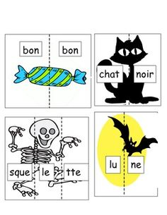 Print, laminate and cut on dotted lines to create a Halloween themed Literacy Centre in French. Halloween Puzzles, Theme Halloween, Halloween Activities, Autumn Activities, Halloween Town, Holidays Halloween, Halloween Pumpkins, Halloween Crafts, Grade 1 Reading
