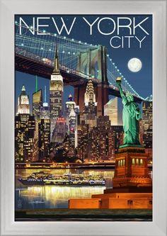 New York City, NY - Skyline at Night - Lantern Press Artwork (12x18 Giclee Art Print, Gallery Framed, Silver Wood), Multi