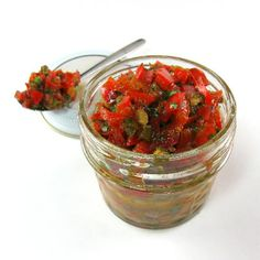 One Perfect Bite: Red Pepper Relish This is very good. Might try reducing the brown sugar, and it took just a tish longer to reduce the liquid. New Recipes, Favorite Recipes, Pepper Relish, Dehydrated Food, Canning Recipes, Food Hacks, Food And Drink, Yummy Food, Stuffed Peppers