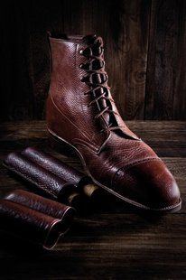 Awesome cross-hatch patterns from he revered Russian reindeer leather.  George Cleverly Bespoke Derby Boot